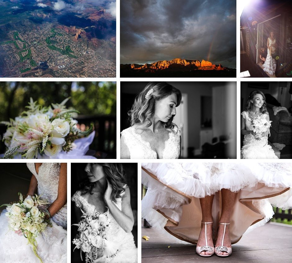 The fiery red rocks of Sedona Arizona destination wedding and the bride with her flowers and shoes and dress