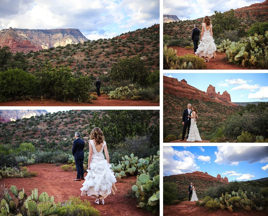 sedona destination wedding outdoors first look bride and groom