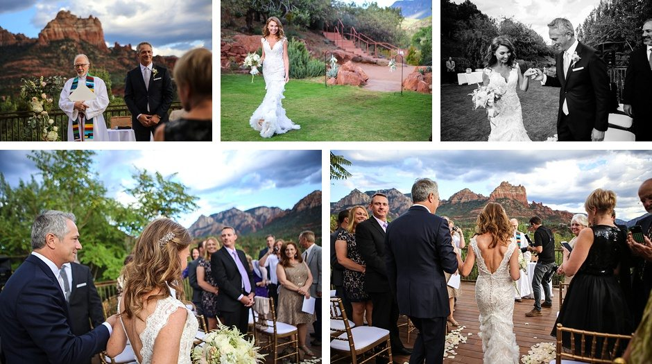 sedona destination wedding outdoors arizona bride walks down isle to meet groom first look