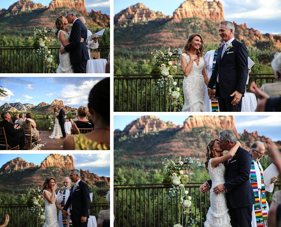 sedona destination wedding bride and groom take their vows outdoors under the sky and kiss