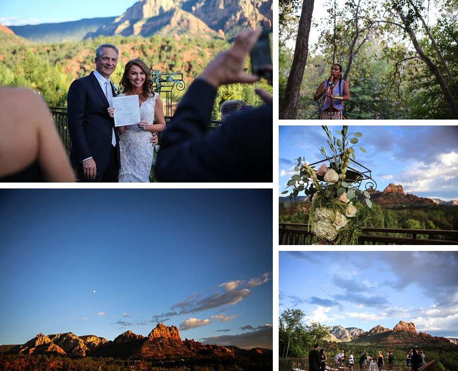 the bride and groom and the background of their sedona destination wedding with the canyon