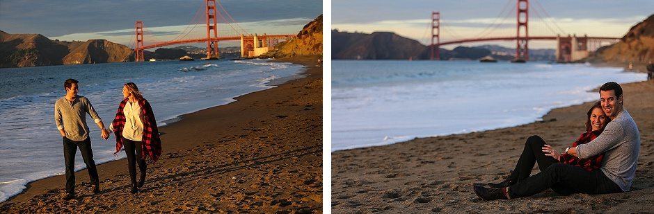 laura and ryan engagement photos by the beach under the golden gate bridge in san francisco holding hands loving embrace