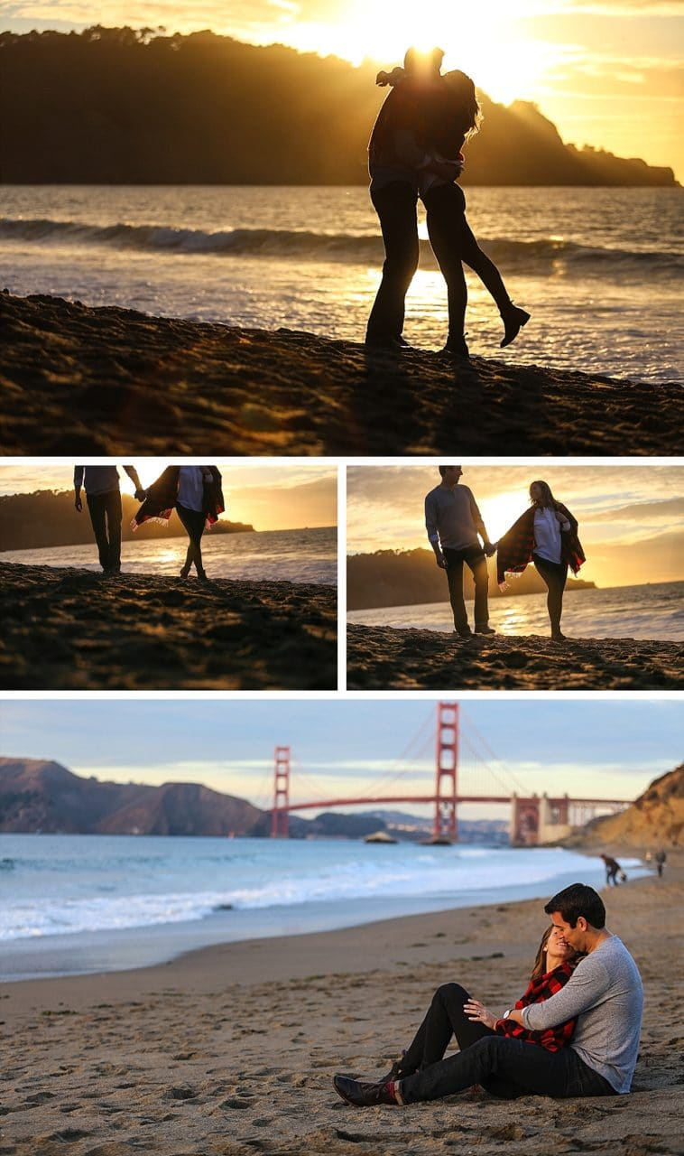 engagement session on the beach in the sunset kissing by the golden gate bridge in san francisco