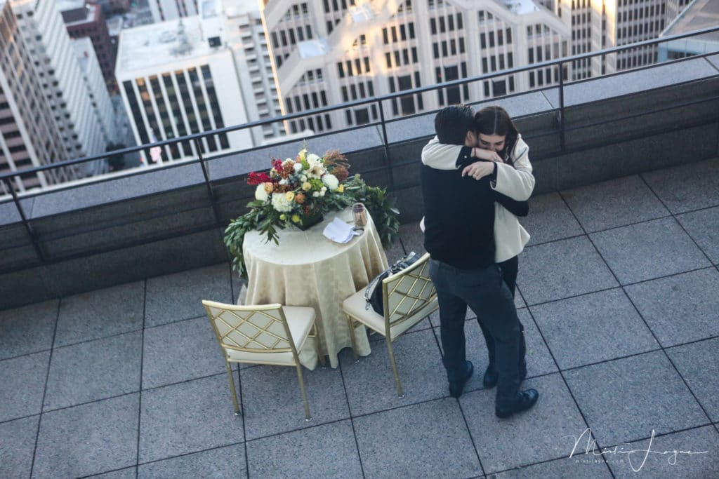 Surprise proposal on the sky deck at Loews Hotel, San Francisco